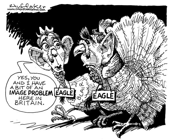 Huffaker - Politicalcartoons.com - Blair and Bush - English - Tony Blair Bush turkeys image problem eagle