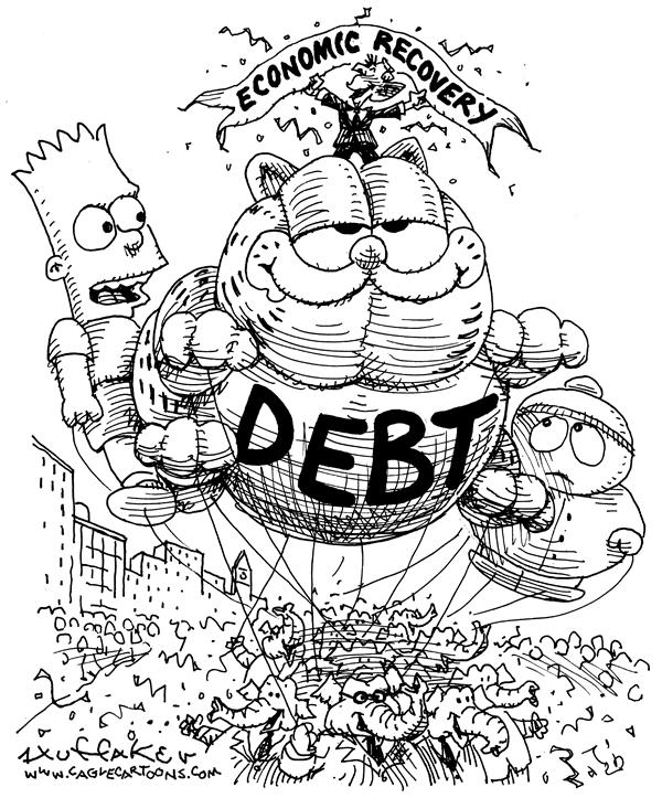 Huffaker - Politicalcartoons.com - Economic Recovery - English - debt Garfield Bart Simpson South Park economic recovery
