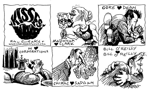 Huffaker - Politicalcartoons.com - Holiday Kisses - English - Madonna Howard Dean  Gore General Clark Bill Oreilly Bush
