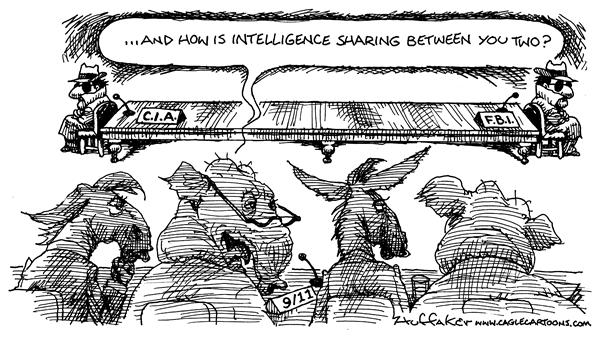 Huffaker - Politicalcartoons.com - FBI and CIA - English - intelligence sharing 9/11 Commission