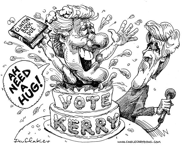 Huffaker - Politicalcartoons.com - Clinton memoirs - English - Bill ClintonJohn Kerry election campaign