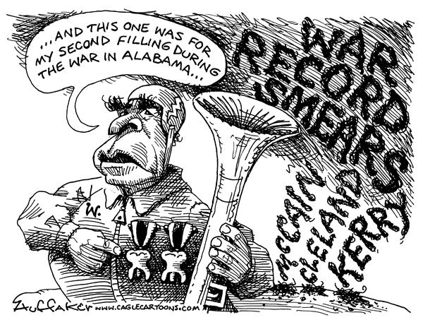 Huffaker - Politicalcartoons.com - Bush War Record - English - Max Cleland McCain Kerry Viet Nam dental