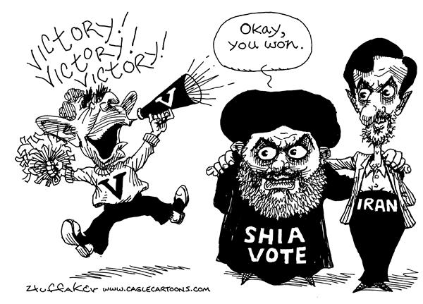 Huffaker - Politicalcartoons.com - Victory - English - Shia Iraq elections Iran