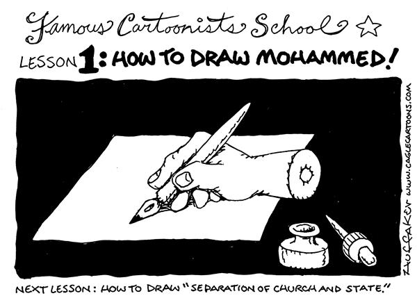 Huffaker - Politicalcartoons.com - Drawing Mohammed - English - Danish cartoons