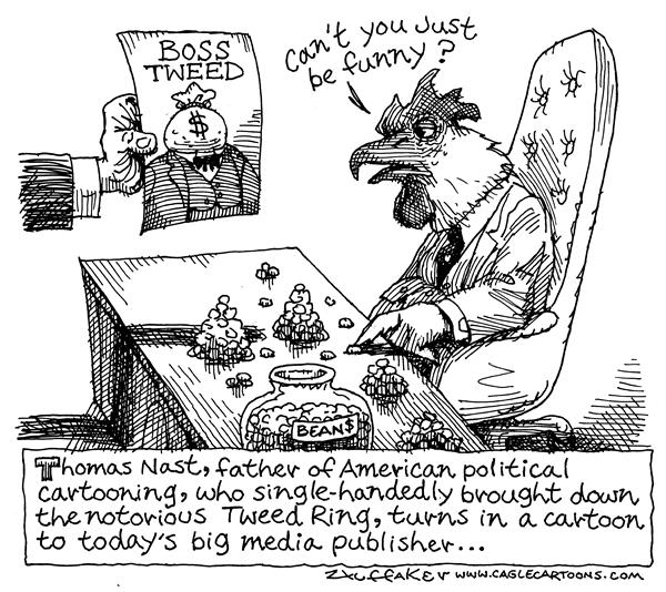 Huffaker - Politicalcartoons.com - Thomas Nast Today - English - political cartoonsBoss Tweed big media