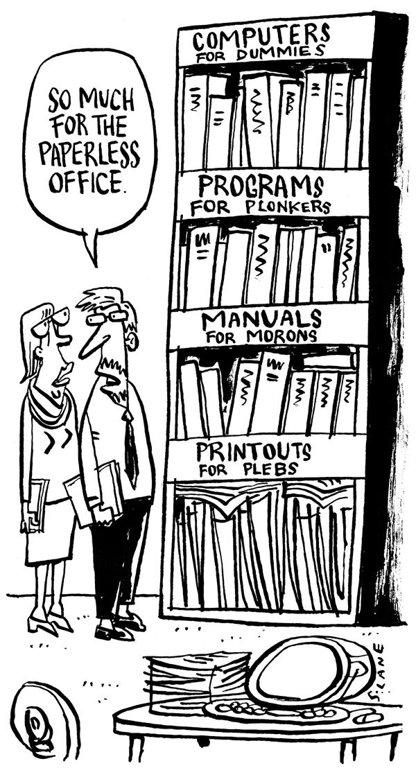 Chris Slane - New Zealand - The Paperless Office - English - dummies, computers, office, manuals, conservation, guides, manual, papers, paper, paperless, books, guides, computer, technology, idiots, printouts, office, jobs, job