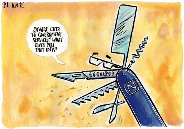 Chris Slane - New Zealand - What Government Spending Cuts - English - slane, zealand, brash, election, tax, spending, cuts, campaign, listener, government, spend, services, elections, knife, swiss army, knives, cut, governmental, social services