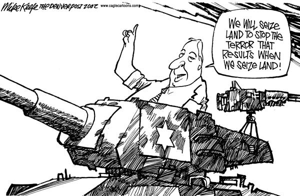 Mike Keefe - Cagle Cartoons - Isreal Land - English - Isreal land terror