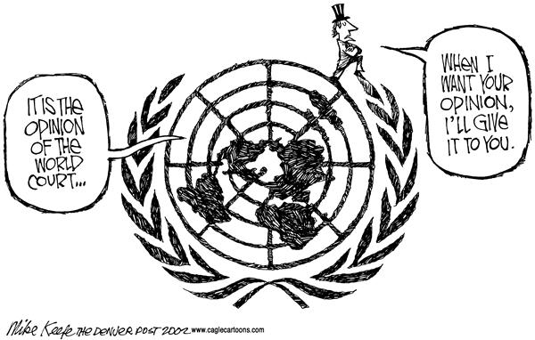 Mike Keefe - Cagle Cartoons - World Court USA - English - world court United Nations USA opinion