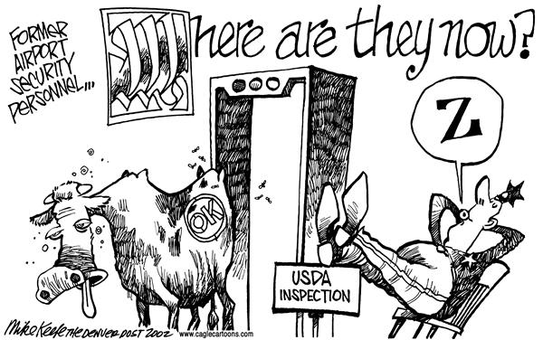 Mike Keefe - Cagle Cartoons - USDA Inspectors - English - USDA, inspectors, meat, beef