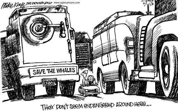 Mike Keefe - Cagle Cartoons - SUV Whales - English - SUVs, whales, environment, transportation, cars