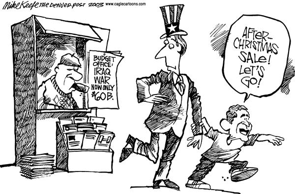 Mike Keefe - Cagle Cartoons - After Christmas Bargain - English - Iraq, Bush, War, Sale, Christmas