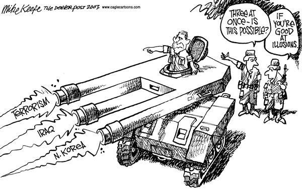 Mike Keefe - Cagle Cartoons - Three Fronts - English - Iraq, Terror, N. Korea, Bush