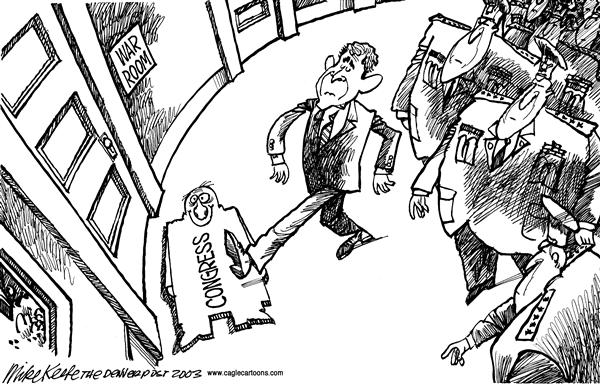 Mike Keefe - Cagle Cartoons - Congress as Doormat - English - Congress, Bush, Iraq, War