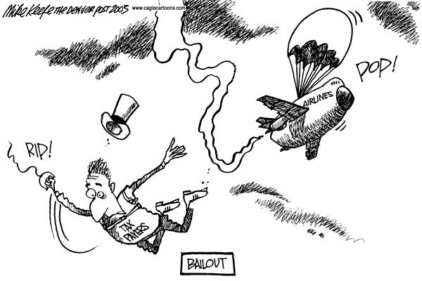 Mike Keefe - Cagle Cartoons - Airline Bailouts - English - Airlines, Economy, Bankruptcy, Bailout