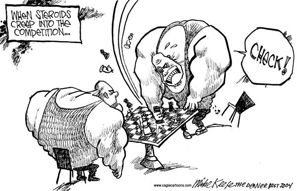 Mike Keefe - Cagle Cartoons - Steroids - English - Competition Sports Steroids