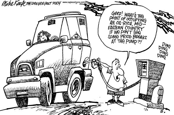 Mike Keefe - Cagle Cartoons - Gas Prices - English - Iraq Oil Gas Prices