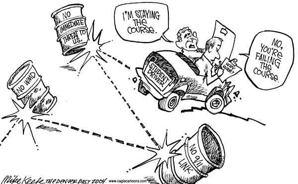 Mike Keefe - Cagle Cartoons - Failing the Course - English - Bush WMD 9/11 Link Iraq