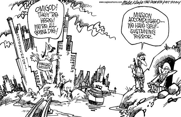 Mike Keefe - Cagle Cartoons - Were all gonna Die - English - Ridge Terror Alert al-Qaeda Homeland Security