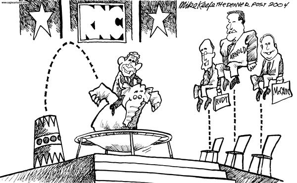 Mike Keefe - Cagle Cartoons - RNC Bounce - English - RNC Bounce Bush Rudy Arnold McCain
