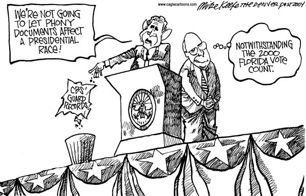 Mike Keefe - Cagle Cartoons - Phony Documents - English - CBS National Guard Bush Cheney Florida
