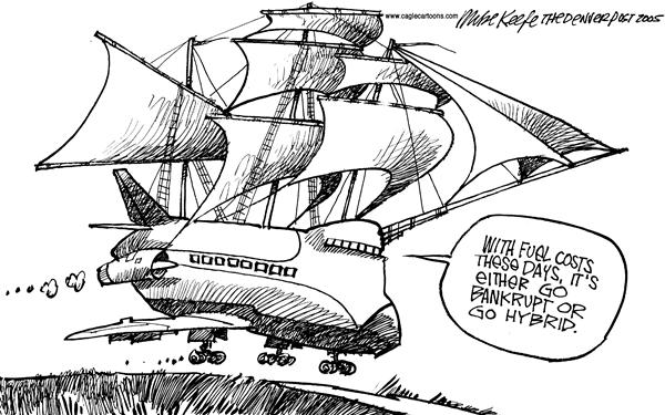 Mike Keefe - Cagle Cartoons - Hybrid - English - airlines Bankruptcy fuel hybrid
