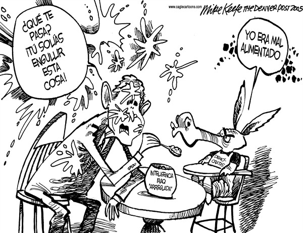 "Mike Keefe - Cagle Cartoons - Inteligencia ""arreglada"" - Spanish - Iraq, Irak, guerra, George, W, Bush, democratas, inteligencia, ADM"