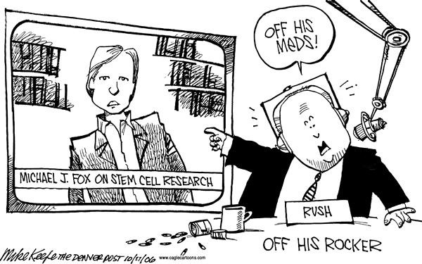 31618 600 Limbaugh vs Michael J Fox cartoons