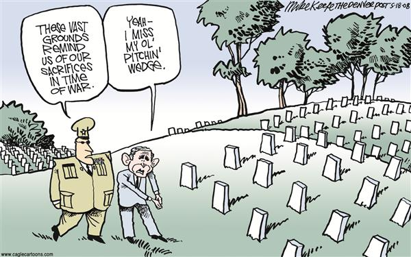 Sacrifice COLOR © Mike Keefe,Cagle Cartoons,sacrifice, veterans, casualties, iraq, afganistan, golf