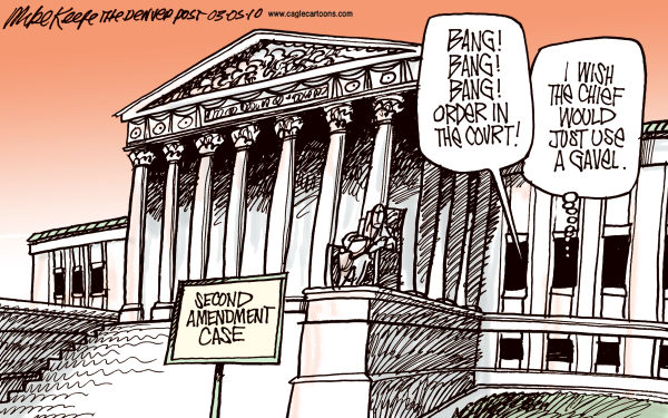 Second Amendment Case COLOR © Mike Keefe,Cagle Cartoons,second amendment, guns, supreme, court, justice, chief, roberts, chicago, arms, nra. liberal, protection