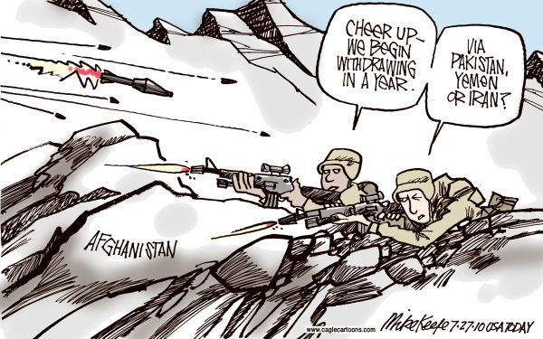 Afghanistan Withdrawal COLOR © Mike Keefe,Cagle Cartoons,afghanistan, withdrawal, terror, yemen, pakistan, iran, wikileak