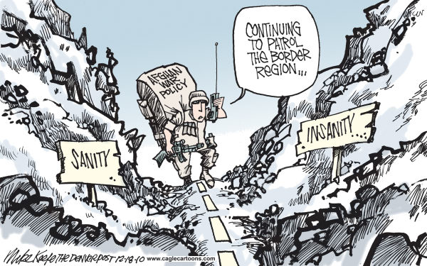 Mike Keefe - Cagle Cartoons - Afghan Border Region COLOR - English - afghanistan; border; region; war; policy; sanity; insanity; report; study; petraeus; obama