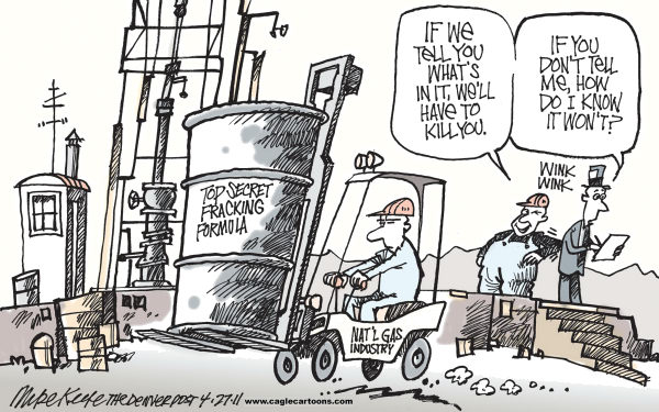 Mike Keefe - Cagle Cartoons - Fracking Formula COLOR - English - fracking; natural; gas; industry; hydraulic; fracturing; carcinogen; toxin; drinking; water; west