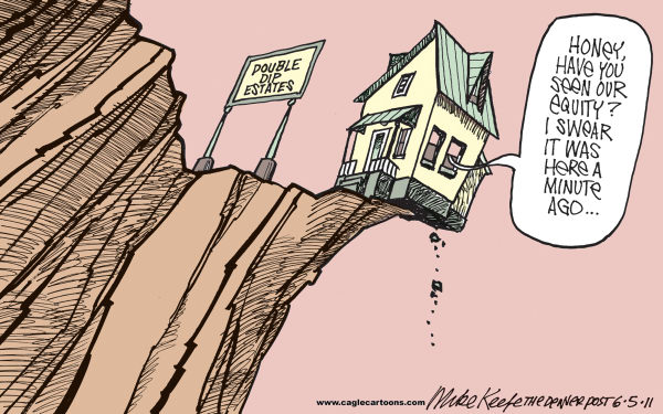 Double Dip Housing Market COLOR © Mike Keefe,Cagle Cartoons,housing; market; foreclosure; uinderwater; mortgage; equity; double; dip; economy; recession
