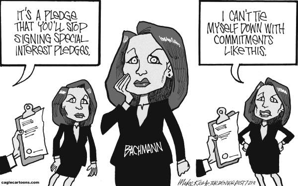 Mike Keefe - Cagle Cartoons - Bachmanns Pledges - English - bachmann; michele; pledge; gay; marriage; balanced; budget; tea; party; gop; republican; presidential; nomination; race; campaign