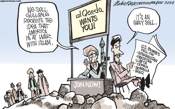 Mike Keefe - Cagle Cartoons - al Qaeda Recruiting COLOR - English - qaeda; terror; islam; bomb; afghanistan; pakistan; libya; yemen; somalia; iraq