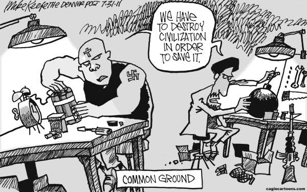 Mike Keefe - Cagle Cartoons - Common Ground - English - common; ground; terror; islam; radical; christian; extremist; right; wing; norway; breivik