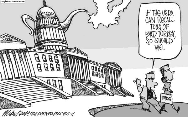 Mike Keefe - Cagle Cartoons - Turkey Recall - English - turkey; recall; usda; voter; congress; tea; party