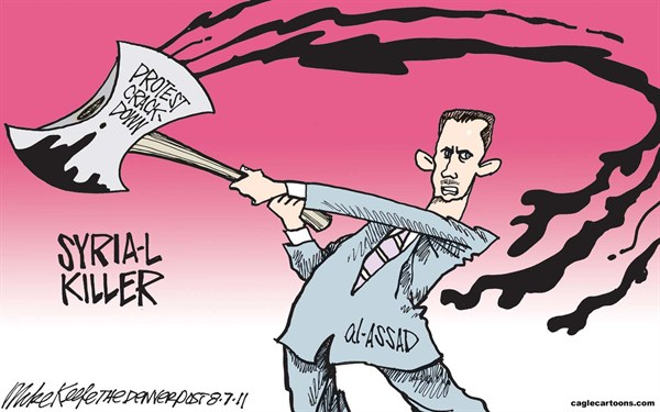 Mike Keefe - Cagle Cartoons - Syria Crackdown COLOR - English - syria, al-assad, assad, crackdown, protest, riot, arab, spring