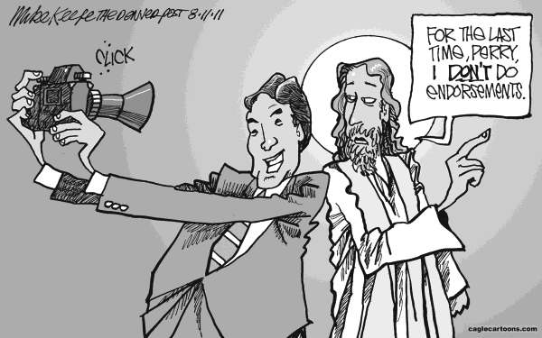 Mike Keefe - Cagle Cartoons - Rick Perry and Jesus - English - rick; perry; governor; texas; religion; right; religious; evangelical; jesus; christian; prayer; church; state