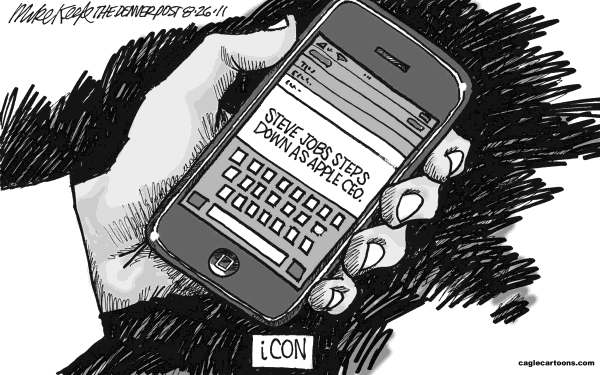 Mike Keefe - Cagle Cartoons - Steve Jobs Steps Down - English - steve; jobs; ceo; apple; icon; iPone; mac; iPad; illness; silicon; valley; electonic