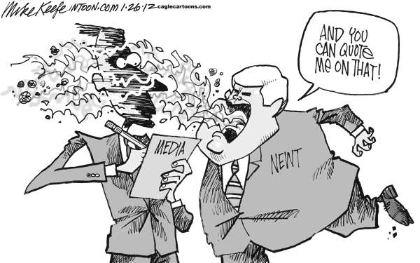 Mike Keefe - Cagle Cartoons - Newt on the Media - English - newt; gingrich; media; reporter; republican; campaign; president