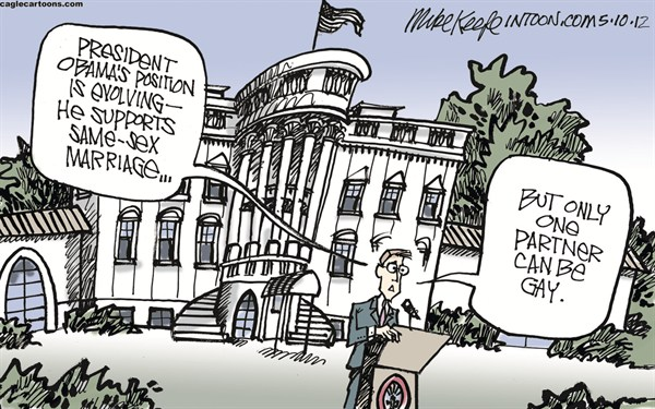 Mike Keefe - Cagle Cartoons - Obama on Same-Sex Marriage COLOR - English - obama; gay; marriage; sex