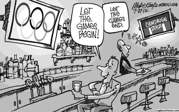 Mike Keefe - Cagle Cartoons - Games Begin - English - olympics; games; begin; campaign; 2012; president; election; republican; democrat; attack; ad