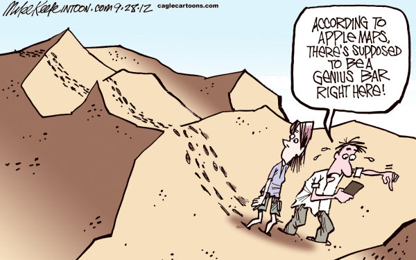 Mike Keefe - Cagle Cartoons - Apple Maps - English - apple; maps; iPhone; google; app; map; application
