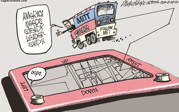 Mike Keefe - Cagle Cartoons - Steady Leadership COLOR - English - romney; leadership; left; right; far; romneycare; etch-a-sketch; campaign; debate