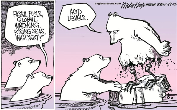 Mike Keefe - Cagle Cartoons - Ocean Acid Levels COLOR - English - ocean; acid; level; fossil; fuel; global; warming; ploar; bear; rising; sea