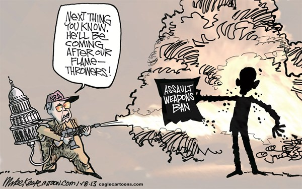 Mike Keefe - Cagle Cartoons - Assault Weapons Ban COLOR - English - assault; weapon; ban; nra; obama; newtown; guns; ammunition; clip; high-capactiy; magazine; aurora; shooting; school; theater