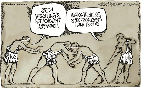 Mike Keefe - Cagle Cartoons - Olympic Wrestling COLOR - English - olympic; wrestling; greek; sports; tradition