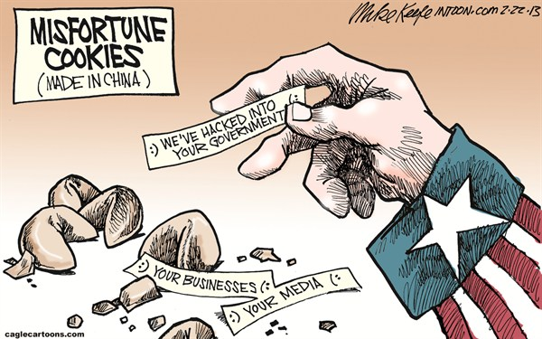 Mike Keefe - Cagle Cartoons - Misfortune Cookies COLOR - English - fortune; cookie; misfortune; china; cyber; attack; hacking; government; media; business; internet